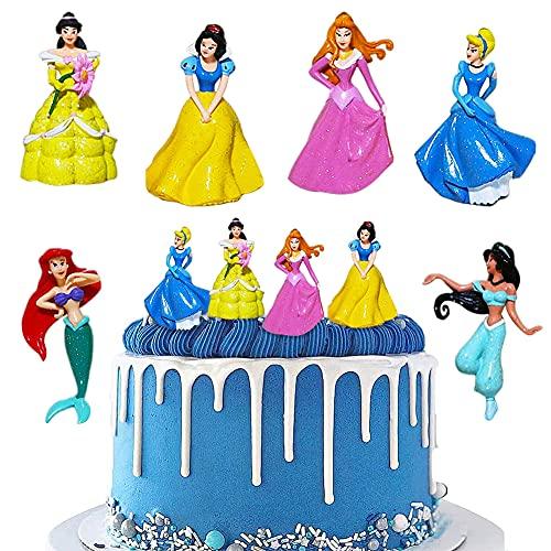 Principessa Cake Topper LLMZ 6Pcs Principessa dei Cartoni Animati Decorazioni Cupcake Toppers Decorazione di Torte per Bambini Micro Decorazione Paesaggio
