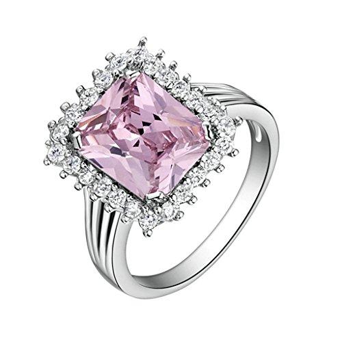 Daesar Versilbert Damen Ring Silber Verlobungsring Ring Princess Schliff Ring mit Stein Größe:52 (16.6)
