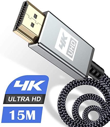4K HDMI Kabel 15Meter,Sweguard HDMI Kabel 4K @ 60Hz 18Gbps Highspeed HDMI 2,0 Kabel Nylon Geflecht, vergoldete Anschlüsse mit Ethernet/Audio Rückkanal, Kompatibel mit Video 4K UHD 2160p, HD 1080p-Grau