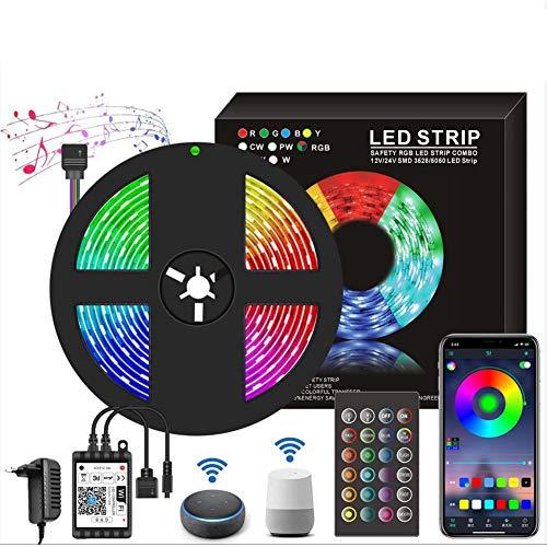 Striscia LED 5 metri - Compatibile con Alexa e Google Assistant IP65 impermeabile Smart APP WiFi e controllo controller a 24 tasti, 150 LED 5050 RGB, Strisce LED Musica Dimmerabile Temporizzato