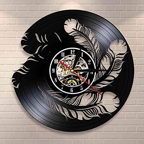FDGFDG Plumas de pájaro Arte de Pared Reloj de Pared Decoración de Pared Interior Natural Reloj de Pared de Vinilo Reloj Colgante Moderno Reloj de dueños de Mascotas de Aves Regalo
