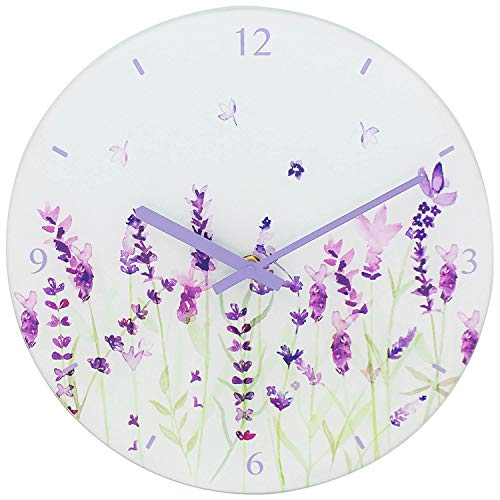 Reloj de pared Lavanda de 30 cm, cristal, cara blanca y diseño de flores, perfecto para cocina, sala de estar, pasillo o como regalo.