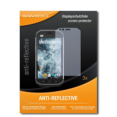 SWIDO Displayschutzfolie für Caterpillar Cat S40 [3 Stück] Anti-Reflex MATT Entspiegelnd, Extrem Kratzfest, Schutz vor Kratzer/Displayschutz, Schutzfolie, Panzerfolie
