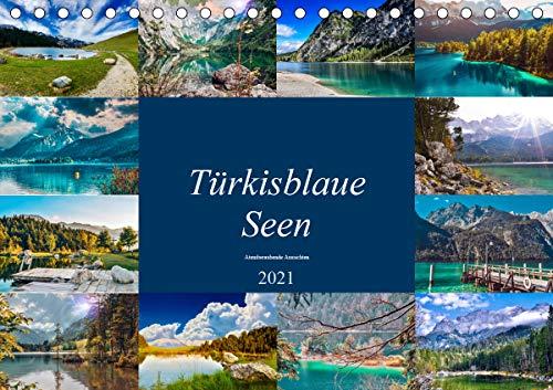 Türkisblaue Seen (Tischkalender 2021 DIN A5 quer)