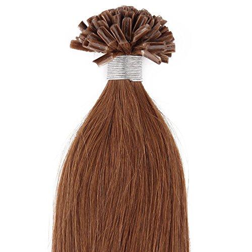 Beauty7 - Sonderverkauf - 50 STK Echthaarstraehnen Remy Echthaar Haarverlaengerung von U-tips 45cm 0,5g Bonding Echthaar Extensions Straehnen 60cm/24 inches in Farbe #8 Hellbraun