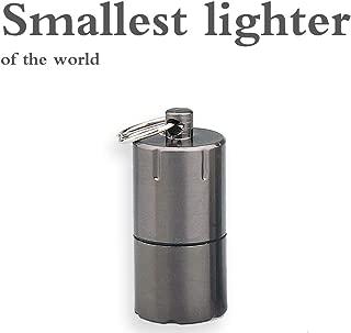 QIMEI The World's Smallest Kerosene Lighter! Height 2.5cm/φ 1.3cm Capsule Lighter Portable Metal Miniature EDC Gear Waterproof Tiny Peanut Lighter (Fuel not Included) (Mini Black)