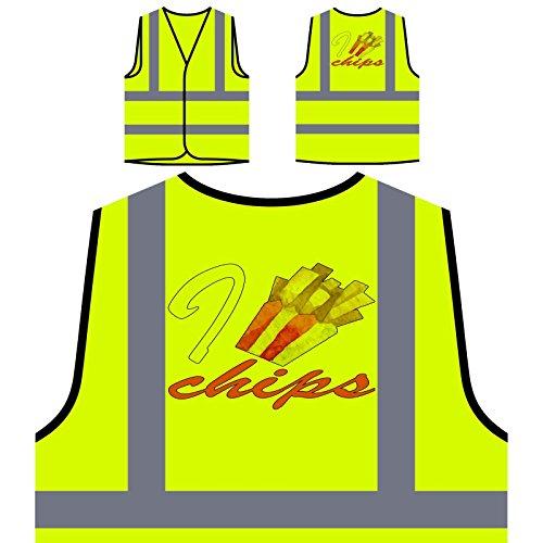 Amo Papas Fritas Chaqueta de seguridad amarillo personalizado de alta visibilidad p117v