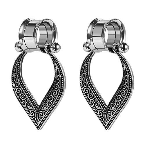 COOEAR Edelstahl-Messgeräte für Ohren Doppelt ausgestellte, verschraubte Stopfen und Tunnel Flower Dangle Expander Stretchers 2g to 1 inch