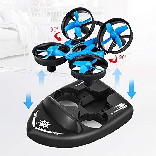 Famyfamy Ferngesteuerte Drohnenboote, RC-Car für Kinder und Erwachsene, 3-in-1-Seeland-Luft-Modus, umschaltbar, wasserdicht, Hovercraft-Spielzeug RC Quadcopter RTF