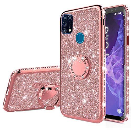 Nadoli Glitzer Hülle für Galaxy M31,Kristall Diamant Strass Bumper mit 360 Ring Kickstand Silikon Schutzhülle Handyhülle Frauen Mädchen für Samsung Galaxy M31,Roségold