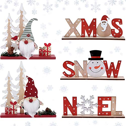 Set of 5 Christmas Table Decorations for Dinner Party Xmas Desktop, Wooden Display Santa Snowman Noel for Home Restaurant Cafe Table Decoration Merry Christmas Holidays Centerpiece