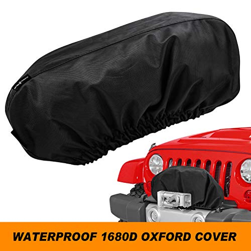 "Seven Sparta Winch Cover Heavy Duty for Electric Winch Up to 17500 Lbs, Waterproof Winch Protector, 1680D Oxford Protective Winch Cover, 24"" W x 10"" H x 7"" D (Black)"