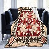 AEMAPE Manta de Lana con geometría Tribal Navajo Indio Americano, Manta Suave y acogedora, Manta cálida 127X102CM