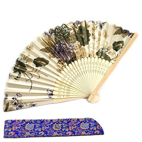 Handfächer Faltbar Fächer für Frauen Damen aus Seide und Bambus Chinesischer Japanischer Fächer Schön Gedruckt Handgemacht Geschenk Foto Accessories Fächer für Hochzeit