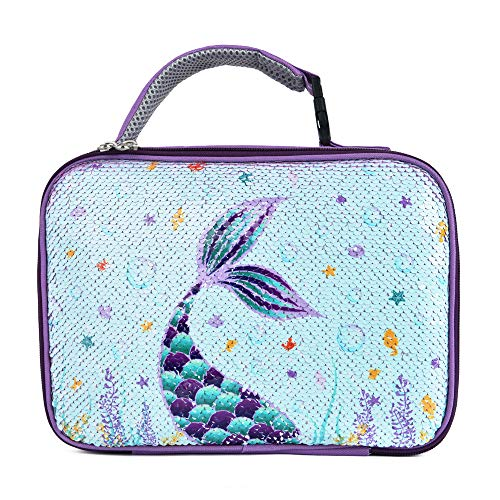 WERNNSAI Mermaid Lunch Bag - Glitter Sequin Lunch Tote Box Thermal Insulated Reusable Lunch Bag Beach Hiking Picnic Handbag Best Gifts