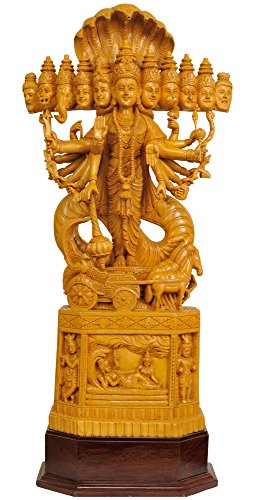 Exotic India Statue Cosmic Vision de Vishnu, Jaune Antique, 16,5 x 34,5 x 83 cm