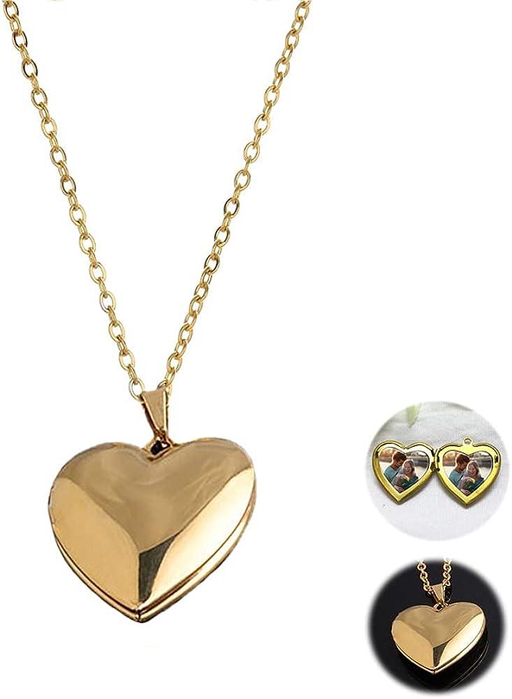 Gold Heart Locket Necklace for Women Girls with Picture Locket Pendant Photo Necklace Heart Locket Necklace that Holds Pictures Necklaces for Men Women Jewelry Gift