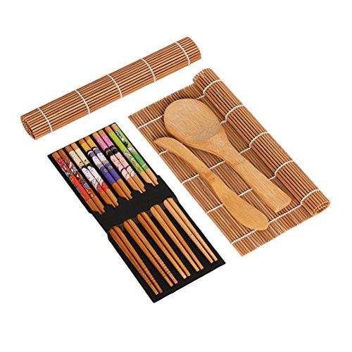 BESTONZON 15pcs kit de sushi de bambú que hace con 2 cintas de correr 5 pares de palillos de arroz paddle rice spreader
