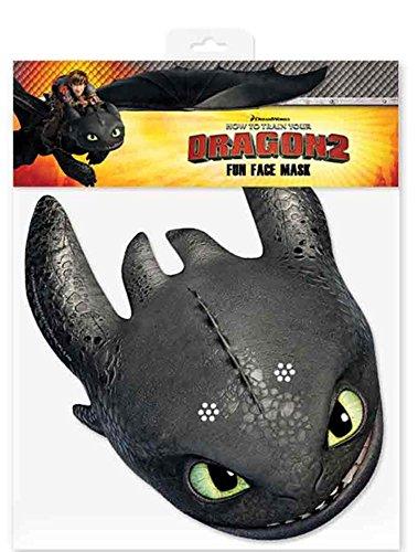 Empire Interactive Toothless – Masque Visage avec Trous de œil – How to Train Your Dragon – Carton Brillant avec élastique – 30 x 20 cm