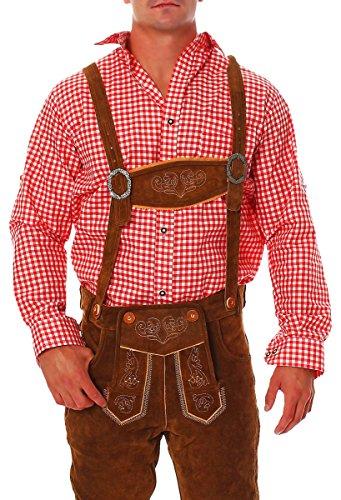 Fashion4Young Herren Trachtenhemd Karohemd Trachten Hemd Kariert Lederhose Fit Langarm (S, Rot Weiß)