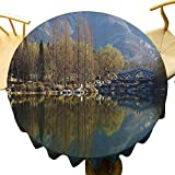 Mantel redondo para exteriores ideal paisaje de la naturaleza que refleja en el agua tranquilidad relajación tema lago montaña paño rápido verde pizarra azul diámetro 36 pulgadas