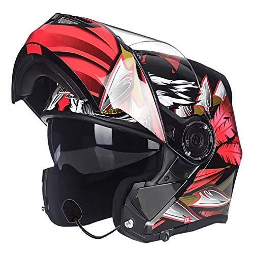 ZLYJ Casco Abatible para Motocicleta Auriculares Bluetooth Incorporados Micrófono Modular De Doble Visera Casco Delantero Cascos De Protección De Carreras Aprobados por ECE E,M(53-57cm)