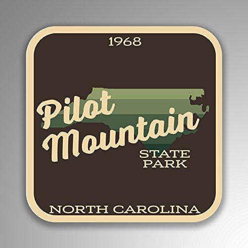 JMM Industries Pilot Mountain State Park North Carolina - Adhesivo de vinilo con aspecto retro vintage, 2 unidades, 10 x 10 cm, calidad premium, laminado protector UV SPS377