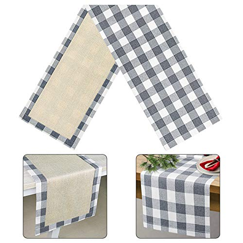 Senneny Buffalo Plaid Table Runner, Reversible Burlap & Cotton Table Runner, Farmhouse Buffalo Check Table Runner for Christmas Holiday Birthday Party Home Decoration (Gray and White, 14 x 72 Inch)