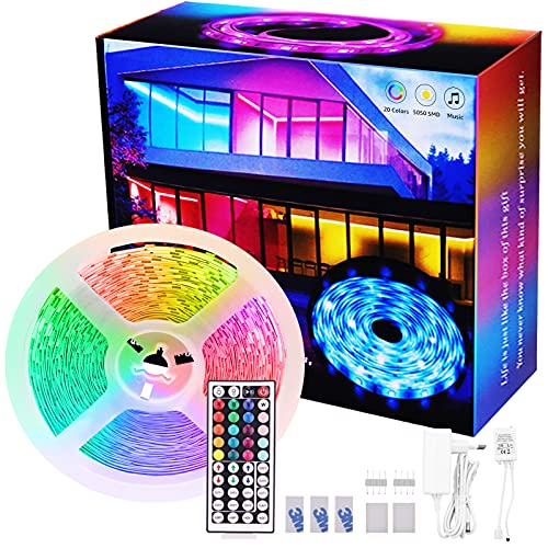 Tira LED RGB 8 m, tira de luces LED, tira de 8 m, cinta de luz con mando a distancia, autoadhesiva para casa, dormitorio, TV, decoración de armario, fiesta