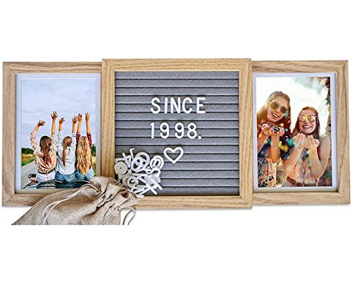 Picture Frame with Genuine Felt Letter Board (Standard, Natural Oak) Best Friends Frame - Custom 6x4 in. Personalized Two Picture Frame