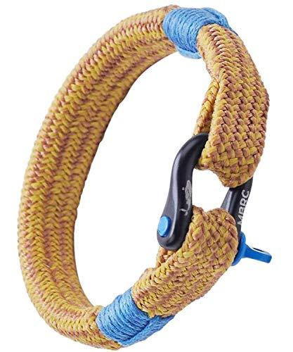 MBRC the ocean Robustes Armband im maritimen Look - Surferseil - Gewebearmband aus recyceltem Nylon - Edelstahl - Nautische Parakord-Schnur - Herren & Damen - Langlebig (Yellow-Copper, 18)