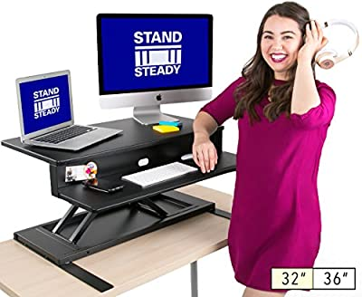 Stand Steady Standing Desk - Precision Desk Converter w/ Hydraulic Lift Assist (Sit or Stand!)- Instantly Change Any Surface to a Stand Up Desk! No Assembly Required!