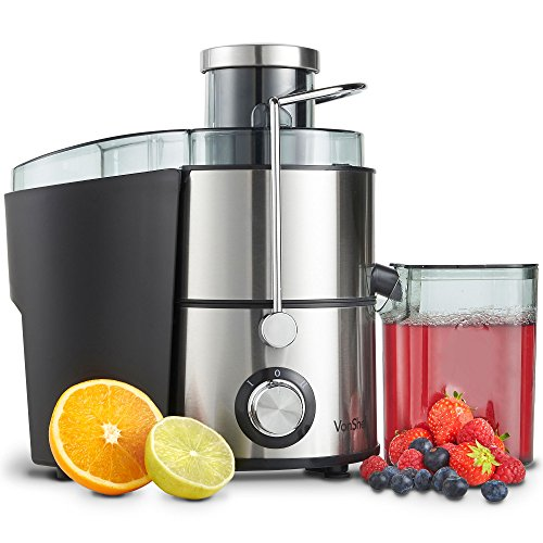 VonShef Juicer Machine for Fruit & Vegetables- Centrifugal Juice Maker 400W with 2 Speed Settings, Wide Feeding Chute for Extracting Juices & Detachable Pulp Container - Easy to Use & Clean 500ml Jug