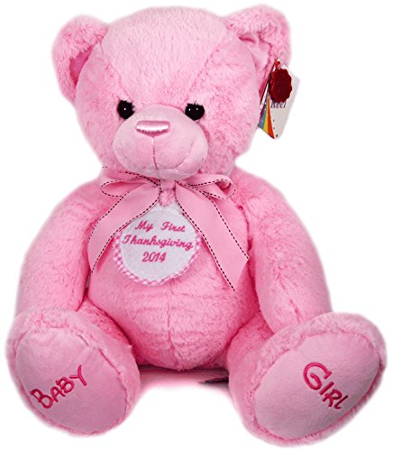 New Baby Girl First Personalised Pink Checked Thanksgiving Badge Pink Cuddly Teddy Bear Soft Toy Big 35cm