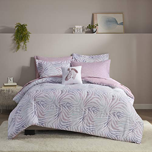 Intelligent Design Nisha Cozy Bed in A Bag Comforter with Complete Sheet Set Modern Zebra Trendy Design, All Season Cover, Decorative Pillow, Twin, Lavender 6 Piece