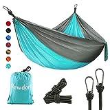Newdora Camping Hammock with Tree Straps Portable Lightweight Nylon Hammock, Parachute Double Hammock for Backpacking,Camping,Travel,Beach,Yard.105(L) x 56'(W).(Blue & Grey)