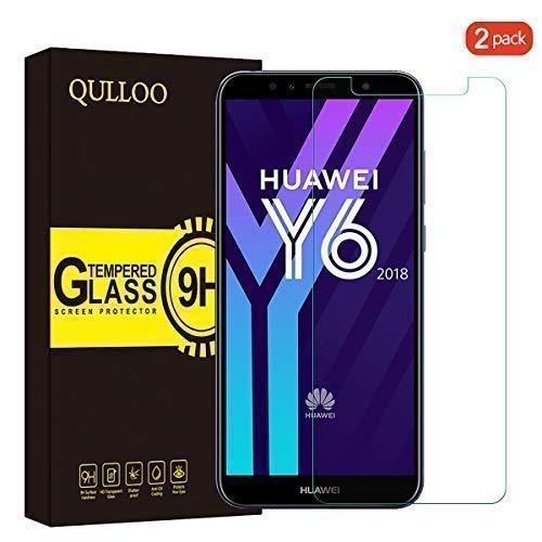 QULLOO Panzerglas Schutzfolie für Huawei Y6 2018, Panzerglas Bildschirmschutzfolie, 9H Tempered Glass Hartglas HD Bildschirmschutzfolie Panzerglasfolie Handy Schutzglas Glasfolie für Huawei Y6 2018