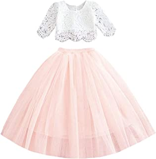 2Bunnies Girl Floral Lace Pearl Tutu Tulle Flower Girl Dress Sets (Pink, 6)