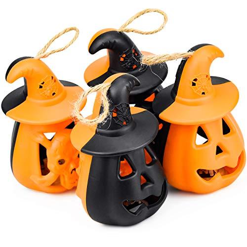COCOCITY 4 Stück Halloween Kürbis Deko Keramik Laterne Kürbis Deko LED Windlicht Hängend für Halloween Weihnachten Ostern Gärten Häuser