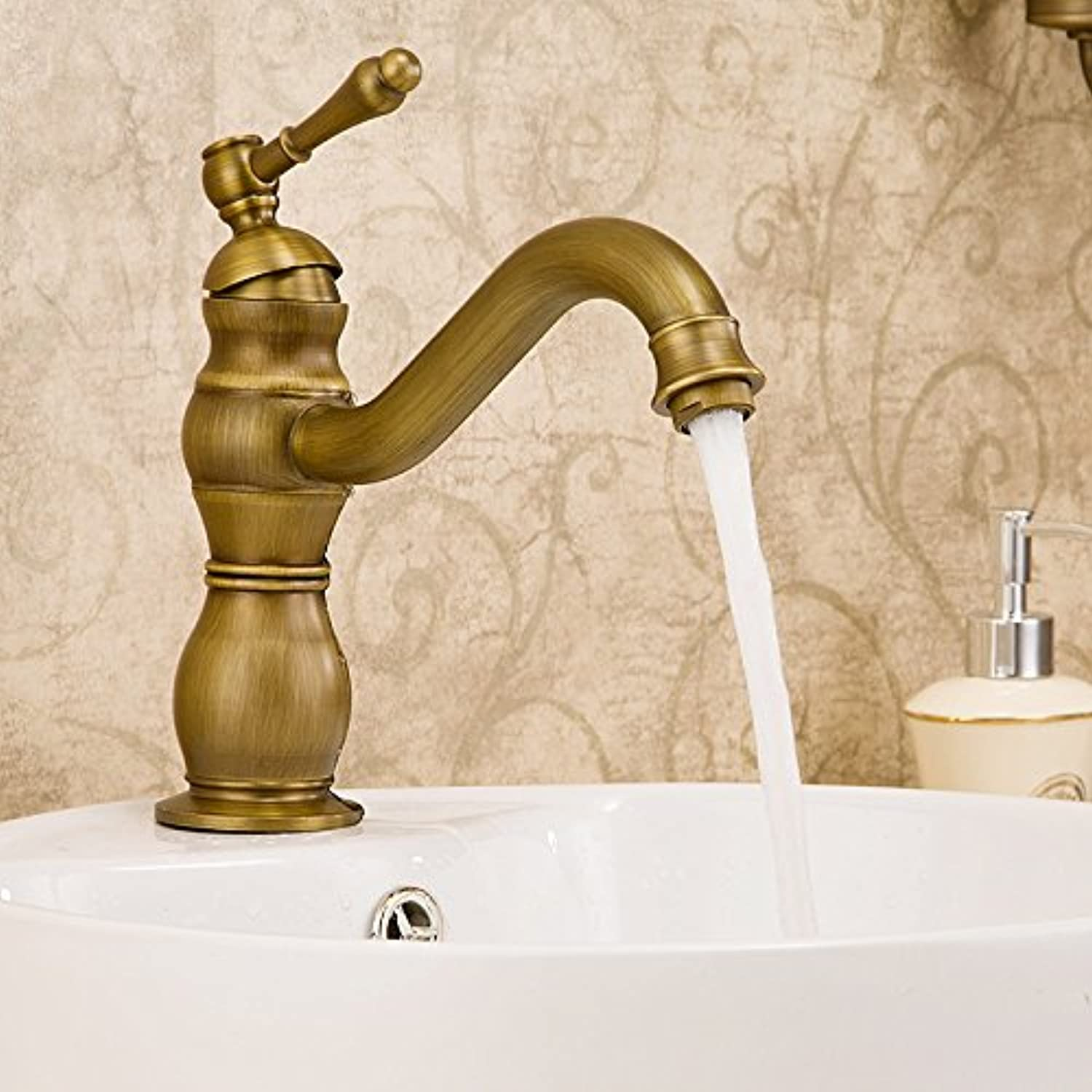 Accessori bagno ZHFC ZHFC Copper single redating faucet cold and hot mixed faucet European bathroom antique single hole washbasin faucet