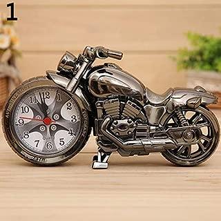 yHRgETLD Motorcycle Shape Radio Quartz Radio Clock Alarm Clock for Bedroom Time Keeper Desktop Decor - Black