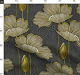 Art Deco, Handgemalt, Gelb Und Grau Stoffe - Individuell