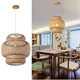 SkyTalent Hand-Woven Bamboo Pendant Light, Rattan Handwoven Pendant Lamp, Natural Chandeliers Domed Shape Woven Light 1 Light Hanging Light for Kitchen Farmhouse Beige (14.96 x 15.71inch)