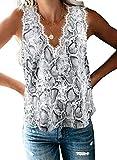 Mosucoirl Camisa sin Mangas con Cuello en V y Encaje con Cuello en V Camisa Informal sin Mangas Camisa Blusa Ligera Sexy Tank Top (Gris, M)