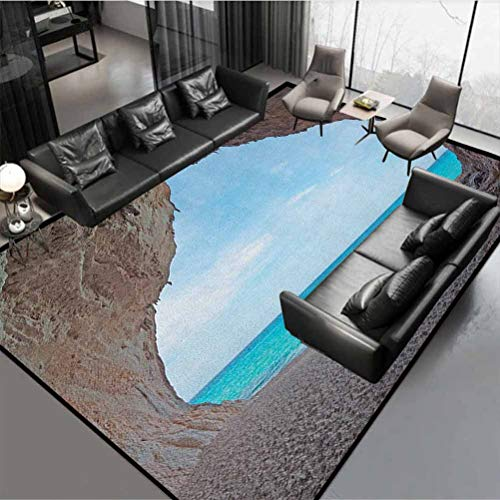 Natural Cave Protective Cushioning Rug Pad Safe for All Floors and Finishes Dreamy Cara Luna Cave by The Ocean Tropical Beach in Mediterranean Seashore Cream Blue Rug 72' by 48'