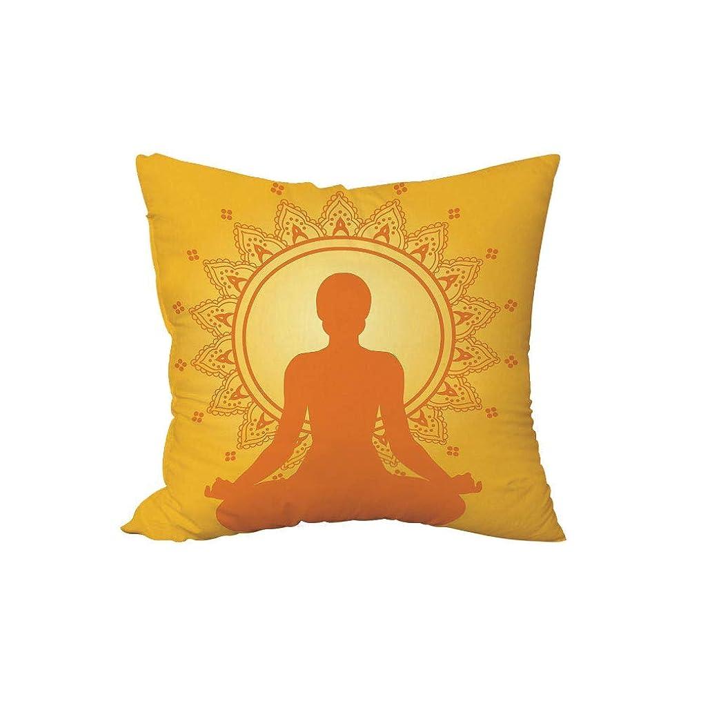 平和な平和市町村投げる枕クッション、黄色の曼荼羅、黄色のアジアンスタイルの背景に瞑想の女性シルエットヨガ禅の装飾、黄色のオレンジ、.x.es、ソファ寝室車を飾るh \ w:18in * 18in