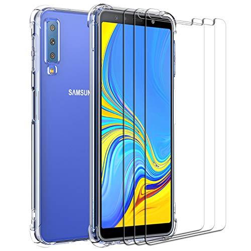 ivoler Funda para Samsung Galaxy A7 2018 + [3 Unidades] Cristal Vidrio Templado Protector de Pantalla, Ultra Fina Silicona Transparente TPU Carcasa Protector Airbag Anti-Choque Anti-arañazos Caso