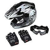 TCT-MT DOT Motocross Helmet+Goggles+Gloves Youth Kids Black Skull Dirt Bike Helmet ATV Off-Road Child Gloves Helmet Goggles (Small)