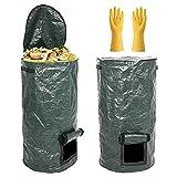 Paquete de 2 Bolsas de Compost - Compostero de PE de Fermentación Orgánica Ambiental, Cubos de Compost para Residuos de Cocina de Jardín, con Guante (2 Piezas, 35x60cm)