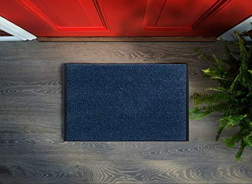 Floorcover Felpudo premium antideslizante – Felpudo para puerta & suciedad en tonos grises mantiene la suciedad fuera y el hogar limpio (azul, 60 x 80 cm)